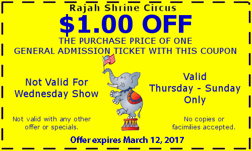 Shrine circus discount coupons